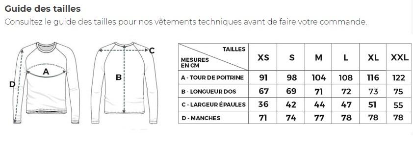 Guide des tailles T-shirt Anti-UV Kuruk