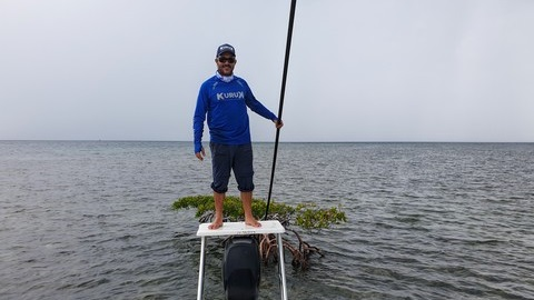 Skiff fishing in Guadeloupe